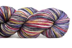 This is an absolutely wonderful 8ply cabled sportweight yarn. I test knit this yarn before deciding to carry it, and it is such a round, plump yarn with a great hand. It takes dye boldly and showcases stitch definition SO very well. This colorway is a part of my Halloween 2014 colorway collection based on the Disney movie Hocus Pocus. It is a hybrid of kettle and space dyeing and features shades of gold, purple, red, pink, gray, black, and white. It will spiral pool with most sock p...