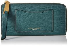Marc Jacobs Recruit Open Face Half Zip Around Wallet, Green Jewel, One Size >>> Want to know more, visit