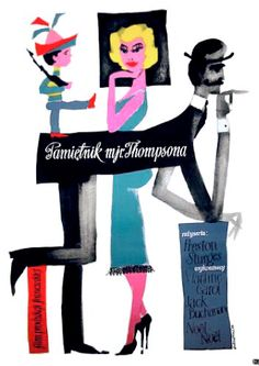 "Vintage Poster - Polish Poster by R. Cieslewicz, 1957, ""Pamietnik Mjr Thompsonia"" directed by P. Sturges."