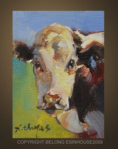 ACEO+Western+animal+COW+Original+Oil++Portrait+by+Deny2011+on+Etsy