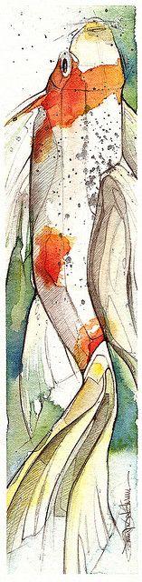 Coastal Art - Koi by Jennifer Kraska Art Paintings, Watercolor Paintings, Watercolors, Wal Art, Art Aquarelle, Carpe Koi, Illustration Art, Illustrations, Watercolor Fish