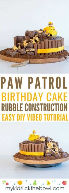 Paw Patrol Construction Cake Easy Birthday Cake Tutorial Paw Patrol Construction Cake an Easy DIY birthday Cake Idea for fans of the Paw Patrol and Rubble Includes a vid. Paw Patrol Birthday Cake, 4th Birthday Cakes, Birthday Ideas, Birthday Cards, Happy Birthday, Birthday Diy, Chocolate Birthday Cake Kids, Birthday Cake Recipes, Digger Birthday Cake