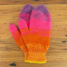 Sunset Stripes Mittens By Kat - Free Knitted Pattern - (justcraftyenough)
