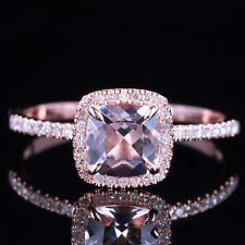 Cushion Cut 6x6mm 10K Solid Rose Gold Diamond & Morganite Engagement Ring #6.5