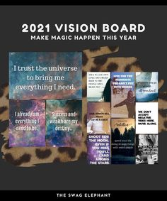 2021 Vision Board Printable Quote Kit with digital worksheets | Etsy