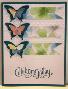 """Perfectly Penned Stamp Set """"Celebrate Today"""" Island Indigo Whisper White Watercolor Wonder DSP Elegant Butterfly Punch Bitty Butterfly Punch Polka Dot Embossing"""