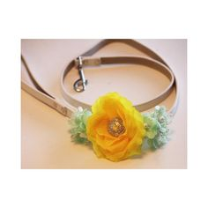 Yellow Mint Green Floral Leash, High quality Leather, Yellow Mint... via Polyvore featuring jewelry, pearl jewellery, floral jewelry, flower jewelry, flower jewellery and pearl leather jewelry