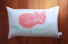 Sleepy Fox Screen Printed Throw Pillow Cover in Coral and Mint // $30.00 // Adorable for your nursery, living room, kid's rooms or family room. Mint and Coral original illustration screen printed with eco friendly waterbased inks. #thepapermule