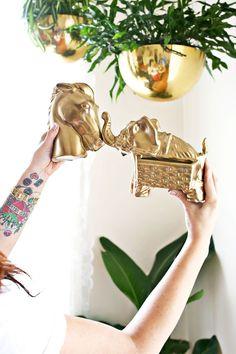 GOLD SPRAY PAINT Planters = Krylon Premium Metallic  Horse & elephant = Valspar's Brilliant Metallic