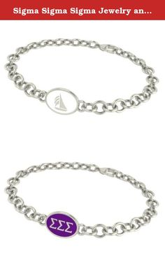 Sigma Sigma Sigma Jewelry and Silver Bracelets. Our Sigma Sigma Sigma sorority jewelry and bracelets are made in solid sterling silver with a high quality sterling silver enameled charm. Our bracelets have the finest detail and are the highest quality of any Sigma Sigma Sigma sorority bracelet available. In stock for fast shipping and if for some reason you don't like it? Send the bracelet back for a full refund..... Sigma Sigma Sigma Silver Jewelry - Silver Link Bracelet.... Metal…