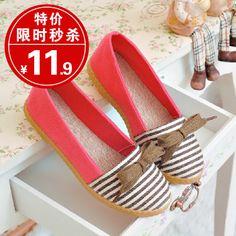 women shoes 2013 summer flat heel flat navy stripe single shoes