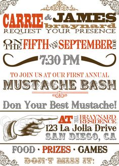 Old Fashioned custom designed mustache stache bash by PeaPodPrintables