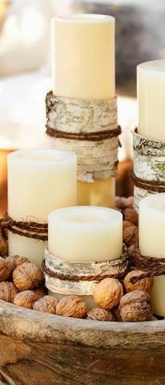 birch bark wrapped candles
