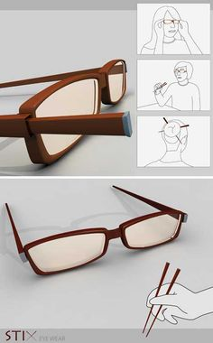 Why would anyone need this?   Stix Eyeware Chopsticks Glasses! Functional!