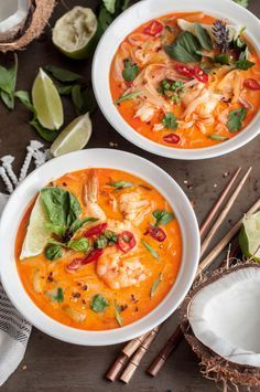 Thai Shrimp Noodle Soup - Full of ginger, lime leaf, lemongrass, coconut milk and noodles to warm up your soul with a handful of shrimp for protein.