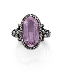Pink Topaz, diamond, silver and gold ring c.1870
