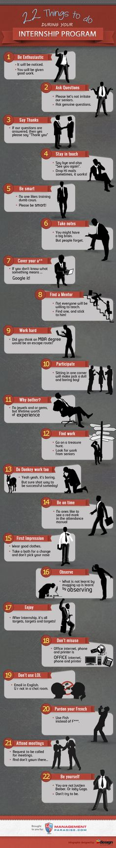 22 things to do during your internship program Infographic. Gain skills and connections to help advance your career. Career Exploration, Internship Program, Job Search Tips, Future Career, Career Development, Personal Development, Graduate School, Law School, Career Advice