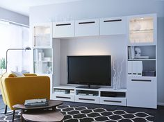 Expedit Tv Storage Unit New 25 Stylish Ikea Tv and Media Furniture White Tv Stand Ikea, Ikea Tv Stand, White Tv Stands, Ikea Tv Wall Unit, Kitchen Wall Units, Floating Wall Unit, Modern Wall Units, Modern Tv, Interior Modern