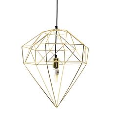 Small Gold Diamond Wire Light Pendant
