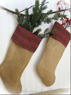DIY Burlap and Plaid Christmas Stockings