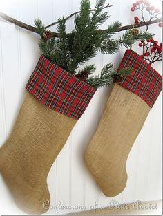 DIY Burlap and Plaid Christmas Stockings