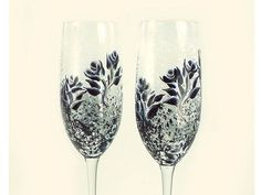 Hand Painted Champagne Glasses  Black and by HandPaintedPetals, $56.00