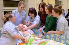 Nurses learn to provide care using simulation.