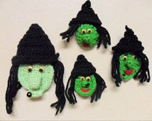 Halloween Crochet Witch, Magnets, Ornaments,Treat, Brooch, Applique