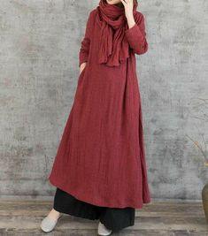 Linen maxi dress, dark red dress women, black maxi dress, floor length dress, dress women - Corner of Woman Abaya Fashion, Muslim Fashion, Modest Fashion, Fashion Outfits, Women's Fashion, Fashion Vintage, Trendy Outfits, Fashion Brands, Fashion Online