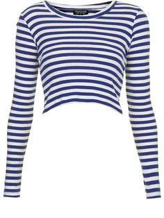 Long Sleeve Stripe Rib Crop Top