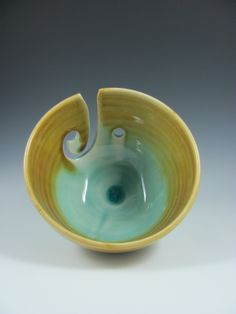 Ceramic Yarn Bowl in Aqua Blue Green Brown by ShadyGrovePottery, $32.00