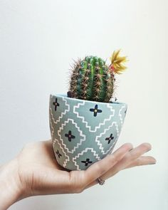 {Tutorial} DIY handpainted southwest cacti pots using Chalkworthy Antiquing Paint. Why settle for drab planters, when you can easily personalize them to perfectly match your style & decor! Painted Plant Pots, Painted Flower Pots, Cactus Pot, Cactus Flower, Decorated Flower Pots, Decoration Plante, Pot Plante, Diy Inspiration, Craft Desk