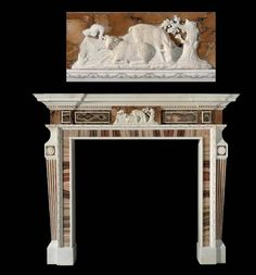 A GEORGE III STATUARY AND SIENA MARBLE AND AGATE CHIMNEYPIECE | CIRCA 1760-1770 | animal, chimneypieces | Christie's William Collins, Hyde Park Corner, English House, Albert Museum, The Shepherd, Greek Key, Siena, Mantle, Hearth