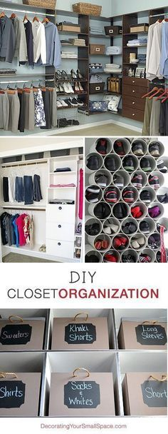 DIY Closet Organization • Ideas & Tutorials! Love the shoe organization and the storage boxes with labels
