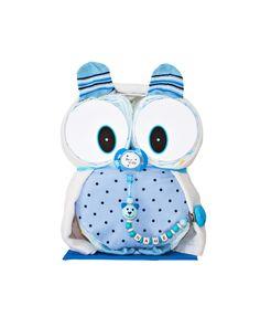 """Windeltorten - Windeleule """"Mio"""" in Blau + Schnullerkette mit Name - ein Designerstück von Babypyramide-Shop bei DaWanda"""