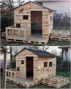 Wood Pallets Here is another great idea of creating a playing place for the kids, a person needs to spend just a few days to create this kids playhouse shed; but it will make the area look amazing. Kids will surely love the playhouse. Woodworking Projects Diy, Diy Pallet Projects, Woodworking Plans, Pallet Kids, Wood Projects, Popular Woodworking, Woodworking Furniture, Pallet Barn, Pallet Ideas For Home