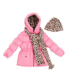 Look at this #zulilyfind! Pink & Beige Leopard Puffer Coat Set - Toddler & Girls #zulilyfinds