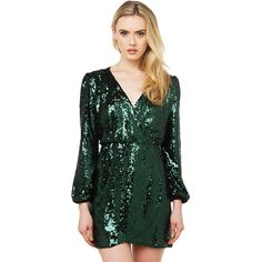 AKIRA Black Label Wild About Tonight Sequin Dress - Hunter Green ($80) ❤ liked on Polyvore featuring dresses, hunter green, long sleeve sequin cocktail dress, sequin cocktail dresses, long sleeve party dresses, long sleeve dress and party dresses