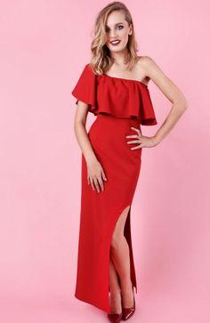 Madnezz Lola sukienka czerwona Zjawiskowa sukienka o hiszpańskim stylu, wykonana z miękkiej jednolitej dzianiny, dopasowany krój