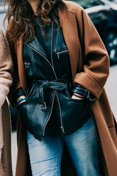 leather under an over coat