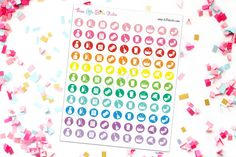 Colorful Cleaning Icon Planner Stickers