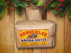 """Touted as the """"Original Cowboy Coffee,"""" and the """"Coffee That Won the West,"""" John and Charles Arbuckle first made their coffee way back in 1864. From """"50 Stocking Stuffer Ideas for Men."""""""