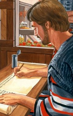 Timothy writing down Paul's words | My Book of Bible Stories | Tags: Jehovah's Witnesses, The Watchtower Bible and Tract Society
