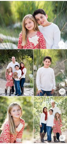 Gorgeous, natural family portraits with the perfect fall or Christmas outfits - beige, red, and blue!