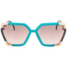 Preowned New Vintage Ted Lapidus Paris Tl 14 01 Turquoise & Gold 1970... (625 CAD) ❤ liked on Polyvore featuring accessories, eyewear, sunglasses, gold, gold frames glasses, purple sunglasses, vintage glasses, purple glasses and gradient lens sunglasses