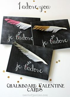 Chalkboard #Valentine Cards via Nest of Posies #printable (Je t'adore = I adore you)