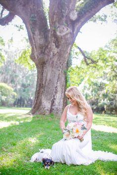 Dog in Bridal Portrait // Legare Waring House Bridal Portraits // Dana Cubbage Weddings // Charleston SC Wedding Photography
