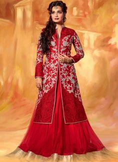 Diya Mirza Red Net Designer Lehenga Choli http://www.angelnx.com/Lehenga-Choli/Bollywood-Lehenga-Choli