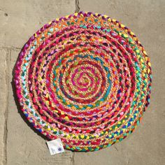 Fairtrade-BRAIDED-ROUND-JUTE-RECYCLED-COTTON-Rug-BRIGHT-MULTI-COLOURED