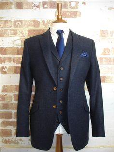 3 Piece Dark Blue Herringbone Tweed Wedding Suit